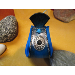 bourse bleue à motif conchas noir
