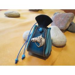 bourse bleue tete de cheval